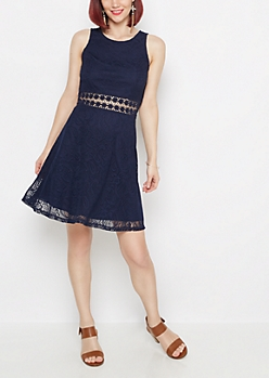 Navy Boho Swirl Illusion Skater Dress