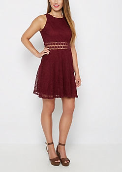 Burgundy Boho Swirl Illusion Skater Dress