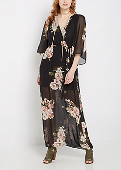 Floral Chiffon Surplice Maxi Dress