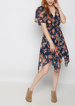 Rosy Surplice Dress