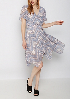 Chevron Folklore Surplice Dress