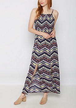 Aztec Split Skirt Maxi Dress