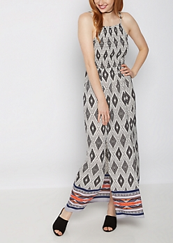 Border Split Skirt Maxi Dress