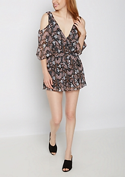 Wildflower Surplice Cold Shoulder Romper