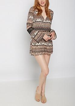 Folklore Crochet Sleeve Surplice Romper