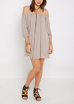 Ladder Front Cold Shoulder Dress