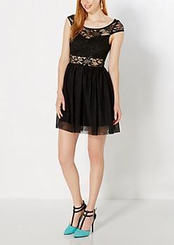 Black Sequined Lace Skater Dress