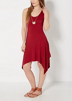 Burgundy Sharkbite Dress & Chevron Necklace