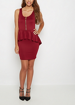 Burgundy Zip-Down Peplum Dress
