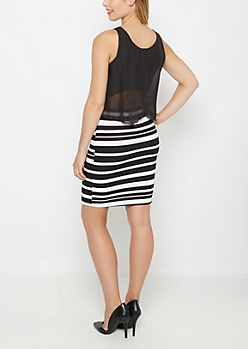 Striped Flounce Popover Dress