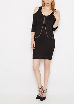 Cold Shoulder Jersey Dress & Bodychain