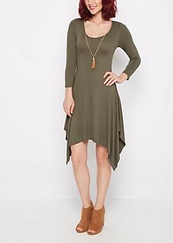 Olive Sandstone Sharkbite Dress & Necklace