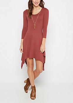 Red Sandstone Crepe Sharkbite Dress & Necklace