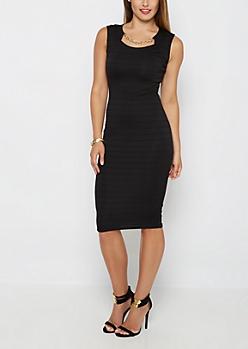 Black Textured Stripe Bodycon Midi Dress