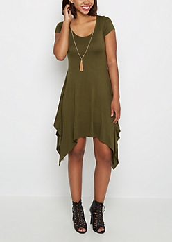 Olive Sharkbite Dress & Tassel Necklace