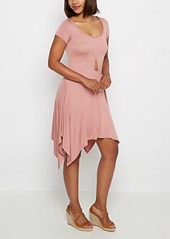 Pink Sharkbite Dress & Tassel Necklace