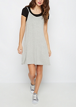 Black Cropped Tee & Gray Cami Dress