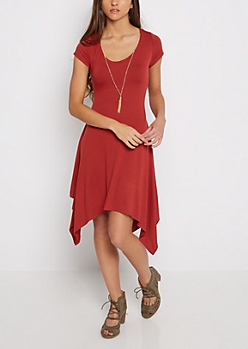 Burnt Orange Sharkbite Dress & Chain Fringe Necklace
