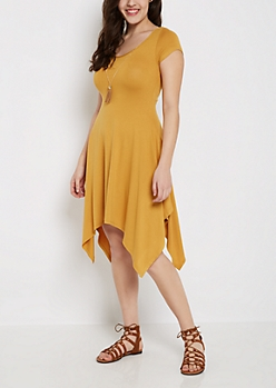 Mustard Sharkbite Dress & Tassel Necklace