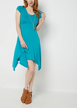 Turquoise Sharkbite Dress & Tassel Necklace