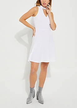 White Cutout Skater Dress