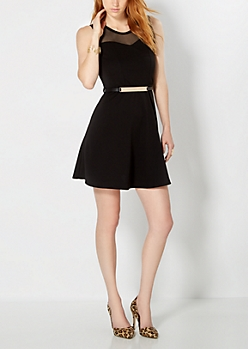 Black Metallic Bar Belt Skater Dress