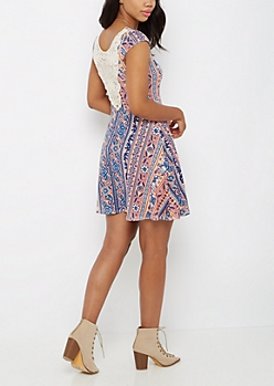 Floral Folklore Crochet Back Skater Dress
