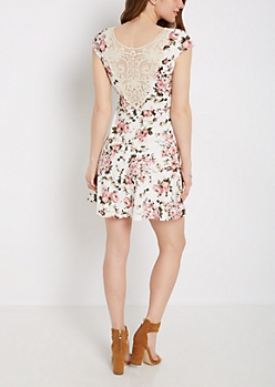 Rosy Crochet Back Skater Dress