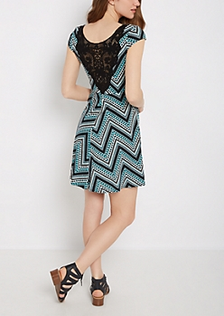 Tribal Chevron Crochet Back Skater Dress