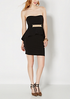 Date Night Black Peplum Dress