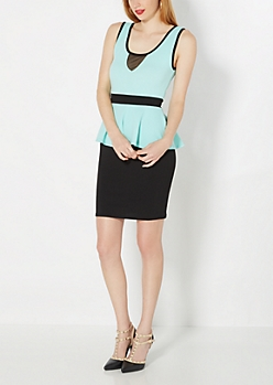 Mint Green Textured Peplum Dress