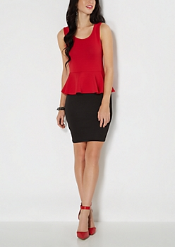 Red Ribbed Tank Peplum Dress