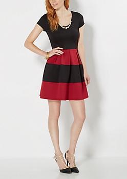 Burgundy Pleated Bombshell Dress