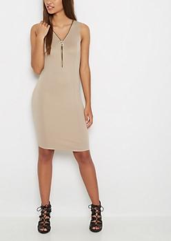 Stone Zip Neck Bodycon Dress