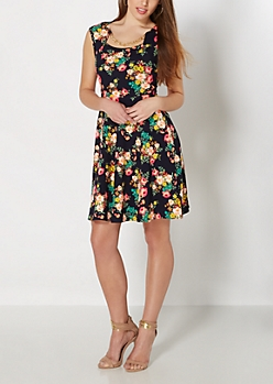 Navy Floral Chain-Link Necklace Skater Dress