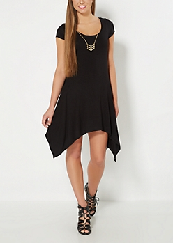 Black Sharkbite Dress & Geo Necklace Set
