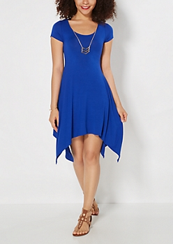 Blue Sharkbite Dress & Geo Necklace Set
