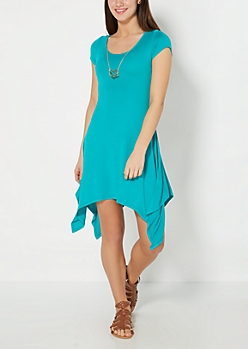 Teal Sharkbite Dress & Geo Necklace Set