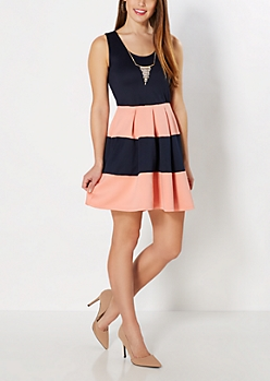 Coral Striped Rhinestone Necklace Skater Dress