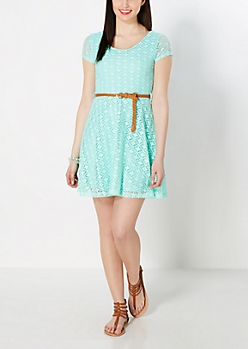 Mint Diamond Crochet Skater Dress
