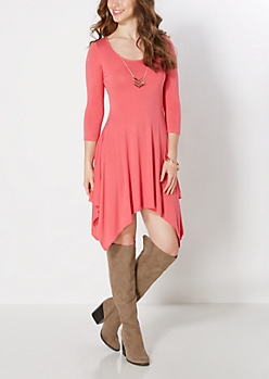 Coral Tribal Necklace Swing Dress