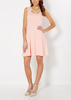 Peach Pearl Necklace Skater Dress