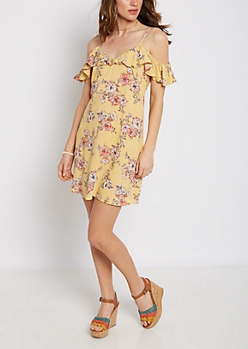 Wildflower Ruffled Cold Shoulder Dress