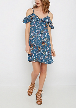Floral Folklore Cold Shoulder Dress