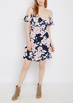 Floral Flounce Gauze Cold Shoulder Dress