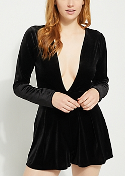 Black Velvet V Neck Romper