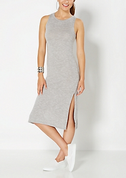 Grey Marled & Split Midi Dress