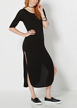 Black Ribbed Knit & Split Dress