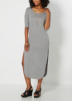 Heather Grey Ribbed Knit & Split Dress