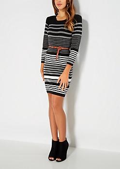 Belted Black Striped Sweater Dress